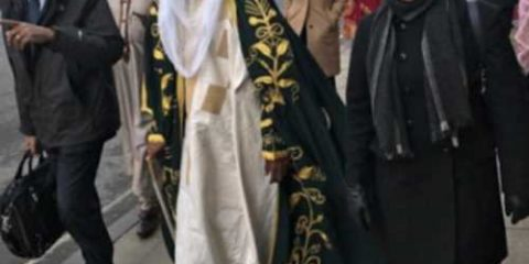 Sanusi Lamido, the Emir of Kano walks the street of Oxford UK in his full traditional regalia