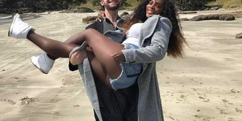 Serena Williams gets swept off her feet by fiance Alexis Ohanian in passionate beach photo