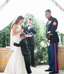 Marine boy cries to wedding vows