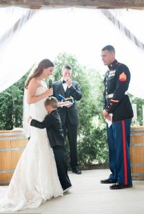 Marine boy cries to wedding vows
