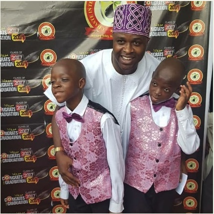 """Happy birthday to my double blessing"" - Femi Adebayo celebrates his twin sons as they clock a year older"