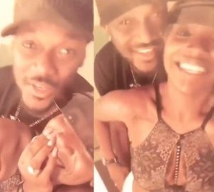 Video: 2face Idibia can't keep his hands off his wife, Annie Idibia after he returned to Nigeria last night