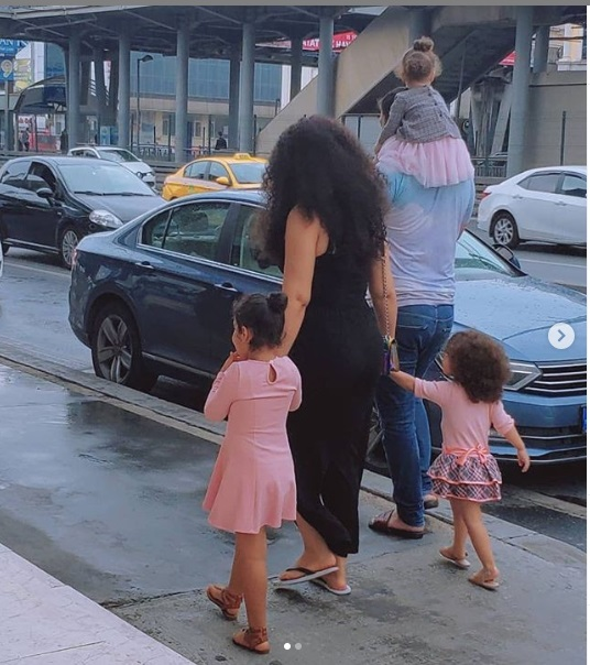 Nadia Buari shares rare photos of herself, husband and their beautiful children enjoying a stroll